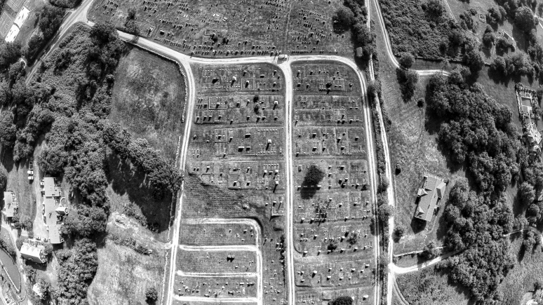 A Bird's-Eye: Black & White Cemetery