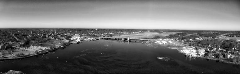 Merrimac River Panorama In B&W