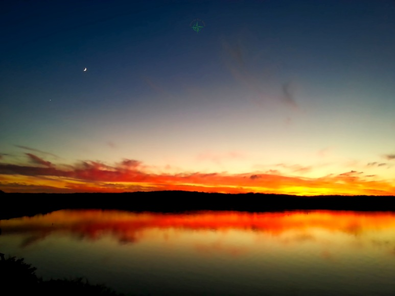 Three Mile Sunset - Venus & Moon Rise