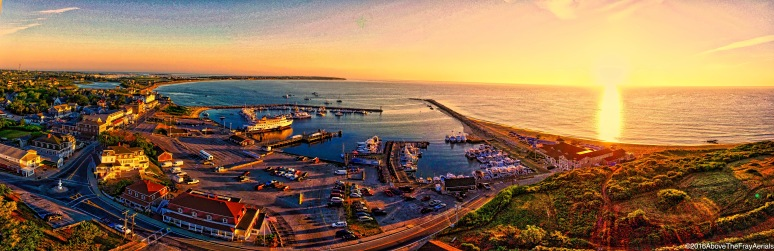 A Panorama: Fourth Of July Sunrise Over Old Harbor - Block Island , RI