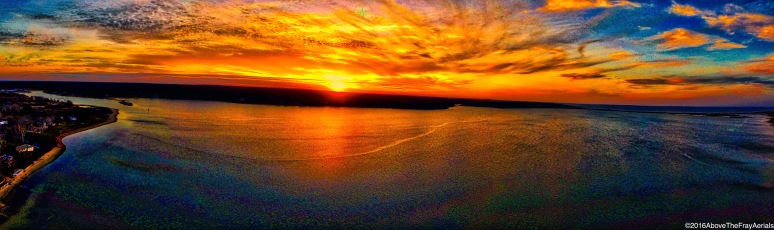 A Panoramic: A Spring Three Mile Harbor Sunset